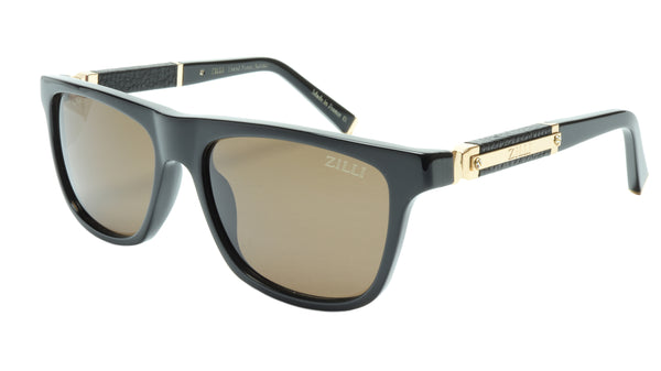 ZILLI Sunglasses Titanium Acetate Leather Gold Polarized France ZI 65010 C01 - Frame Bay