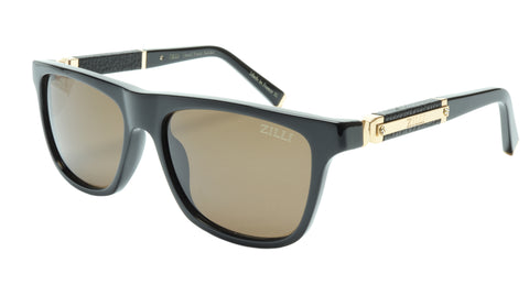 ZILLI Sunglasses Titanium Acetate Leather Gold Polarized France ZI 65010 C01