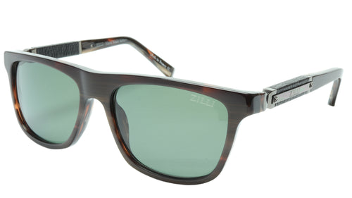 ZILLI Sunglasses Titanium Acetate Leather Gunmetal Polarized France ZI 65010 C03