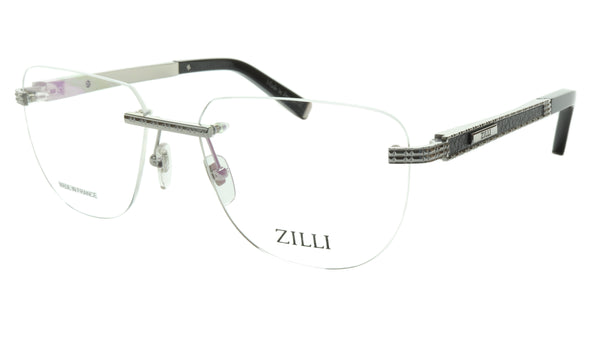 ZILLI Eyeglasses Frame Titanium Leather Acetate Silver France Made ZI 60025 C08 - Frame Bay