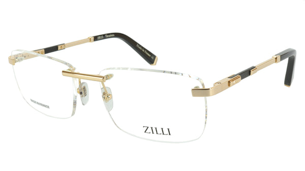 ZILLI Eyeglasses Frame Titanium Leather Acetate Gold France Made ZI 60028 C02 - Frame Bay