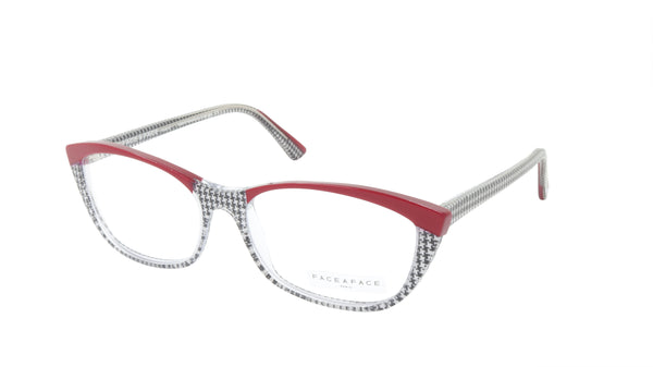 Face A Face Eyeglasses Frame ENVOL 3 Col. AT17 Acetate Purple Red Houndstooth