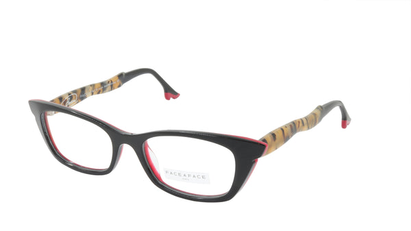 Face A Face Eyeglasses Frame BOCCA SIXTIES 4 Col. 795 Acetate Black Safari Red