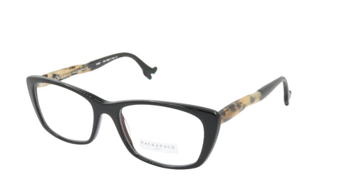 Face A Face Eyeglasses Frame BOCCA SEXY 2 Col. 100 Acetate Black Safari Turquois