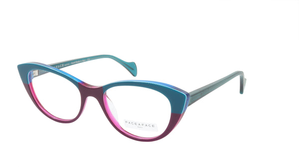 Face A Face Eyeglasses Frame SELMA 1 Col. 3033 Acetate Violet Duck Blue