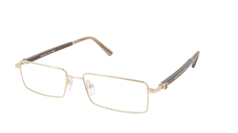 Paul Vosheront Eyeglasses Frame Gold Plated Titanium Wood Acetate Italy PV332 C1