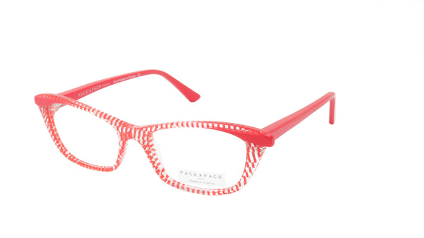 Face A Face Eyeglasses Frame ADICT 3 Col. 6401 Acetate Red Dots Crystal