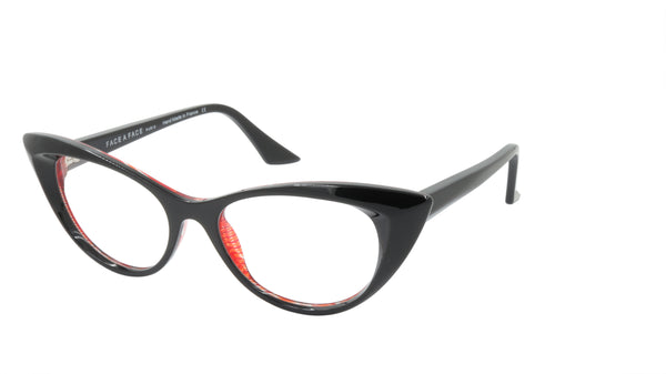 Face A Face Eyeglasses Frame PUNK HER 1 Col. 3011 Acetate Black Bright Red Mesh