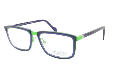 Face A Face Eyeglasses Frame VIGGO 1 Col. 9274 Acetate Metal Fluo Green Ink Blue