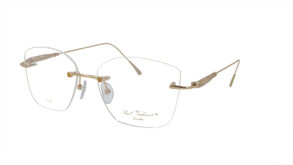 Paul Vosheront Eyeglasses Frame Gold Plated Metal Acetate Gems Italy PV390 C2