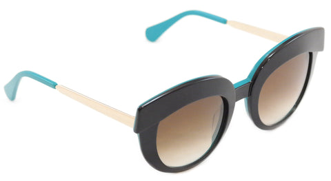 Image of Face A Face Sunglasses Dolce 1 5014 Black Emerald Plastic Metal Italy Hand Made