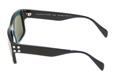 Face A Face Sunglasses Punk Him 2 514 Black Ink Blue Satin Metal Italy Hand Made