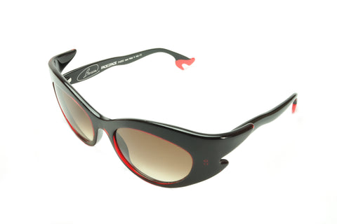 Image of Face a Face Bocca Rock 3 400 Sunglasses Black Red Acetate Italy Hand Made