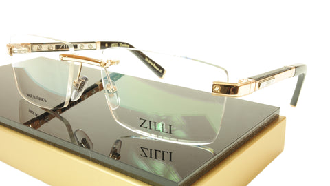 ZILLI Eyeglasses Frame Acetate Leather Titanium France Hand Made ZI 60012 C01 - Frame Bay