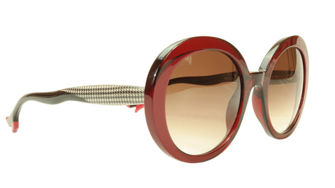 Image of Face A Face Sunglasses Frame BOCCA Moon 1 290 Dark Red Houndstooth Italy Made