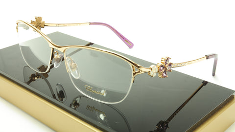 Chopard Eyeglasses Frame VCHA69S 300X Gold Purple Italy Made 55-15-130 - Frame Bay