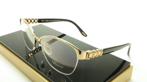Chopard Eyeglasses Frame VCH A67S 0300 Acetate Black Gold Italy Made 55-17-135 - Frame Bay