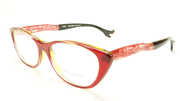 Face A Face Bocca Sexy 1 Col 401 Grenadine Red Crystal Black Eyeglasses - Frame Bay
