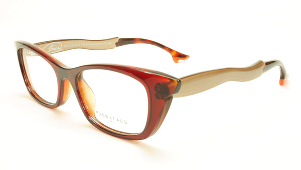 Face A Face Bocca Sixties 4 Col 829 Dark Red Orange Beige Eyeglasses - Frame Bay