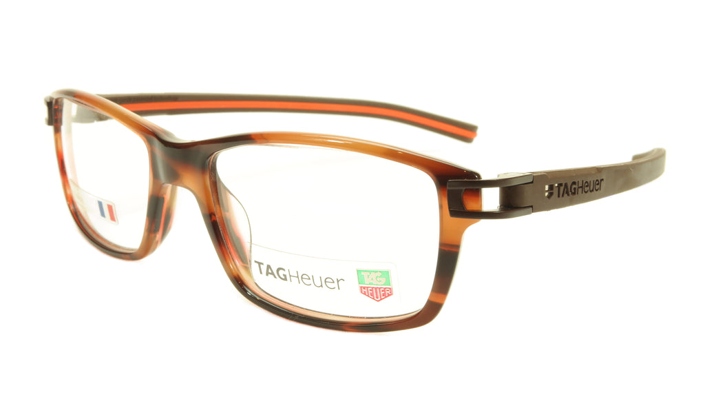 Tag Heuer Eyeglasses TH 7601 002 Brown Havana Orange Chocolate 55-17-145, 34