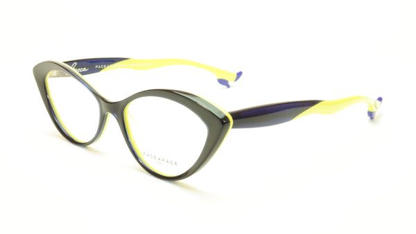 Face A Face Bocca Tatoo 1 Col. 2115 Ink Blue Anis Yellow Eyeglasses Italy Made - Frame Bay