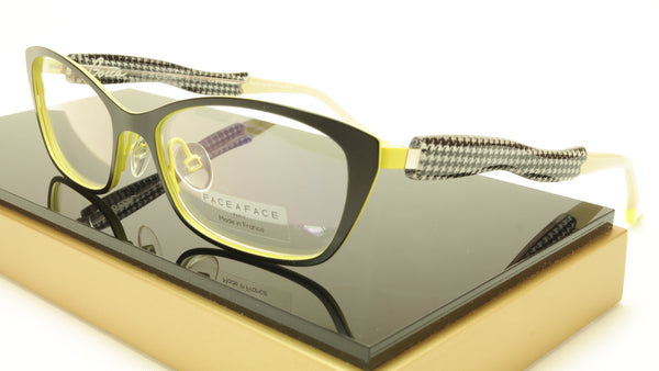 Face A Face Bocca City 1 Col. 9020 Eyeglasses Black Yellow France Made 53-16-142 - Frame Bay