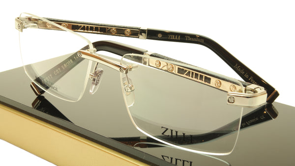 ZILLI Eyeglasses Frame Acetate Leather Titanium France Hand Made ZI 60012 C02 - Frame Bay
