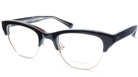 35/139 Tokyo KURO 107-0004 Eyeglasses Frame Black Gold 51-22-145 Made in Japan - Frame Bay