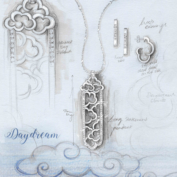 "Daydream silver statement pendant on 30"" chain"