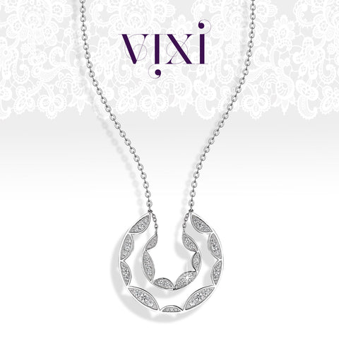 Lace collection silver statement pendant