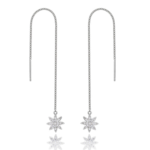 Nova - silver 'shoulder grazer' small star earrings