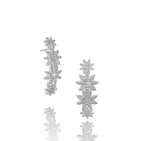 Nova Star-bar silver statement earrings