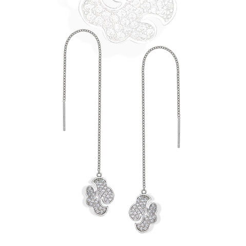 Daydream silver 'shoulder grazer' earrings