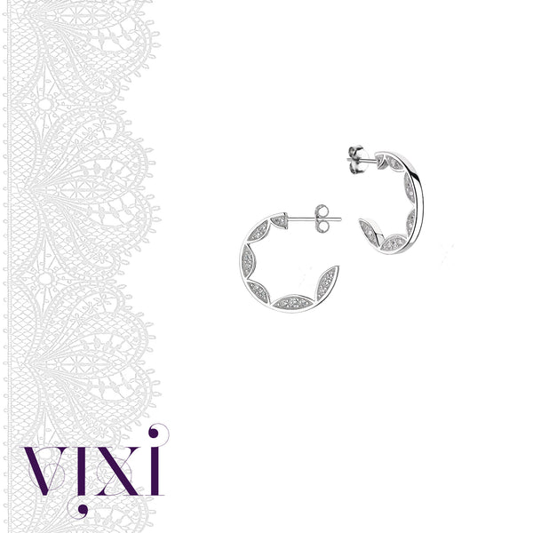 Lace Collection silver  hoop earrings