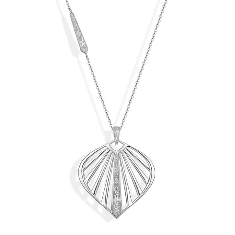 SUNBEAM statement pendant, rhodium plated sterling silver