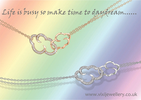 "Daydream linked clouds silver necklace on 18"" chain"