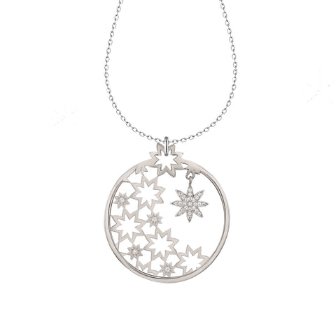 Nova Nights statement silver round pendant
