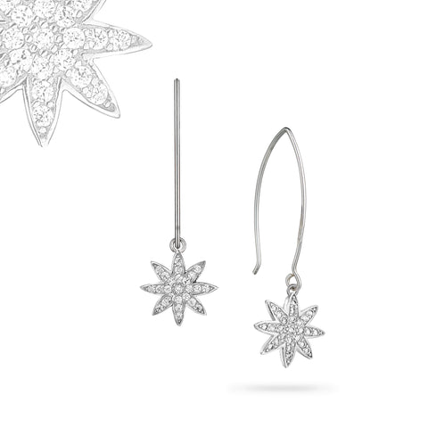 Nova - silver earrings on wishbone hooks