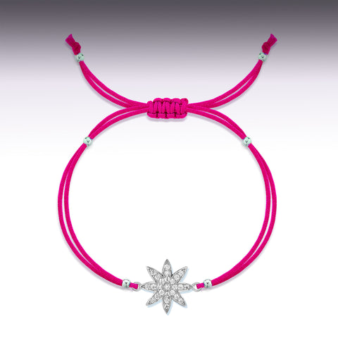 Nova - silver friendship bracelet in hot pink
