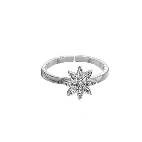 Nova silver small star adjustable  ring