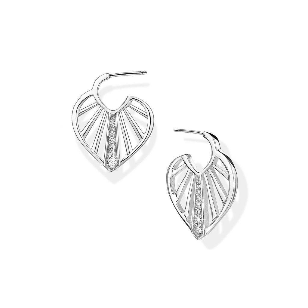 SUNBEAM hoop earrings, rhodium plated sterling silver