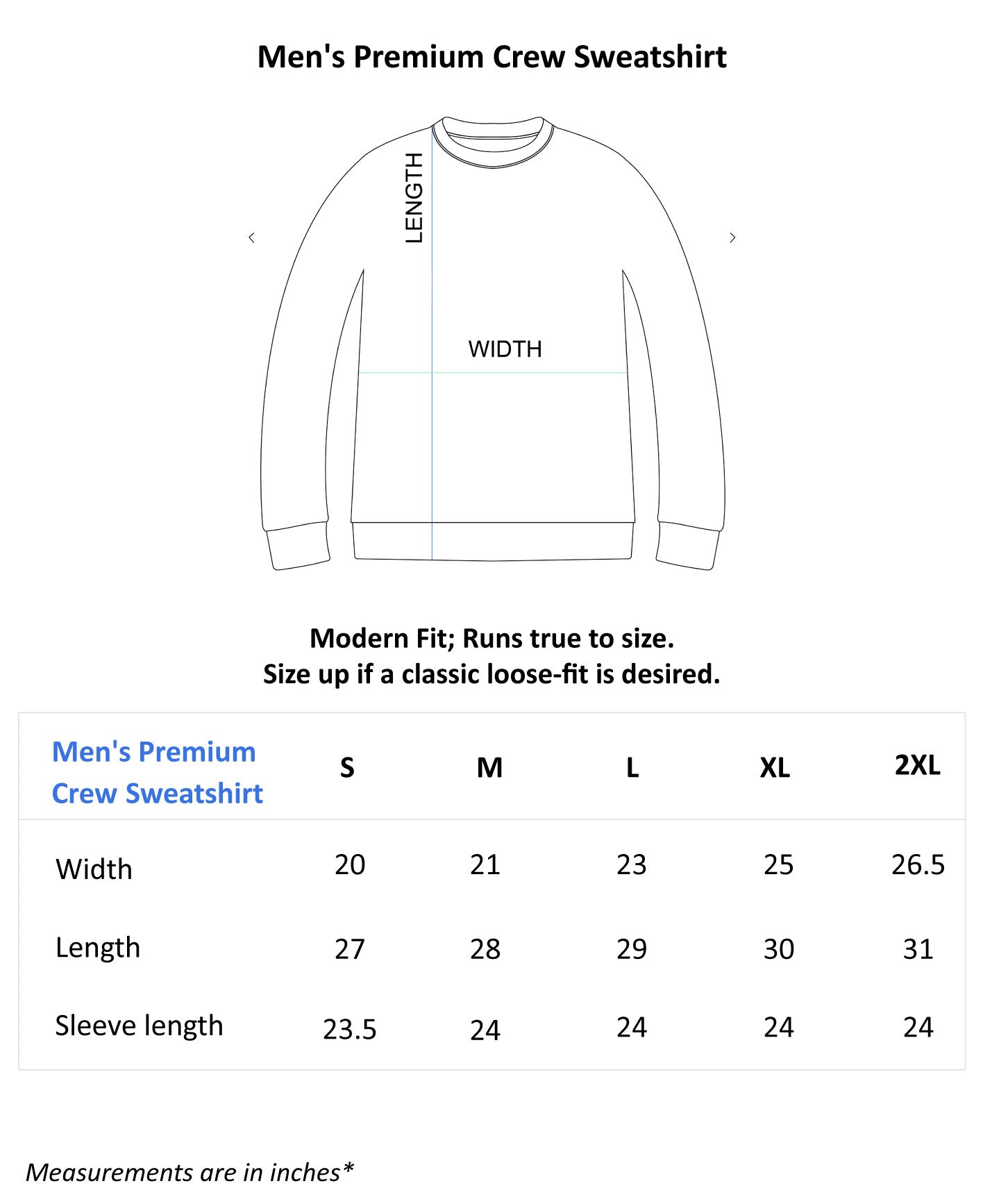 Men's Premium Crew Sweatshirt_Size guide