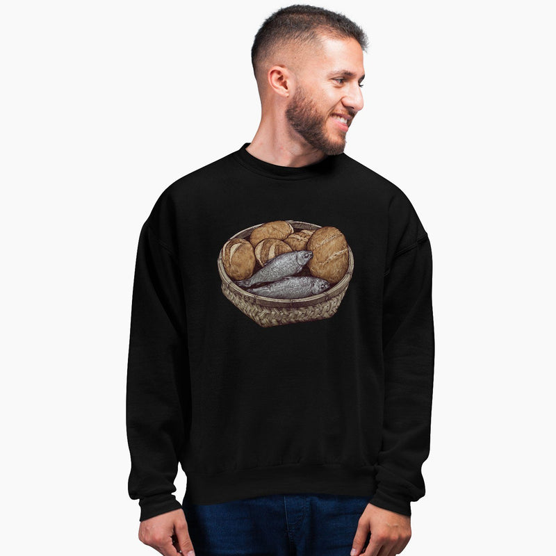 """5 Loaves & 2 Fish"" - Men's Crewneck - Walk by Faith Apparel"