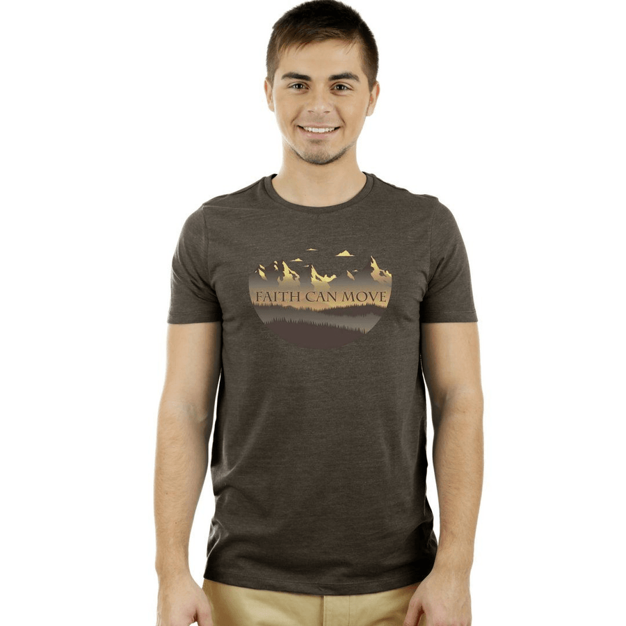 """Faith can Move Mountains"" <br> Men's Triblend Tee - Walk by Faith Apparel"
