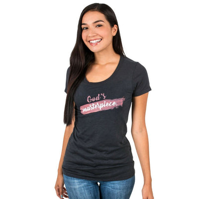 """God's Masterpiece"" - Women's Fitted Triblend Tee - Walk by Faith Apparel"