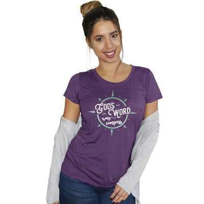 """God's Word is My Compass"" - Women's Fitted Triblend Tee - Walk by Faith Apparel"
