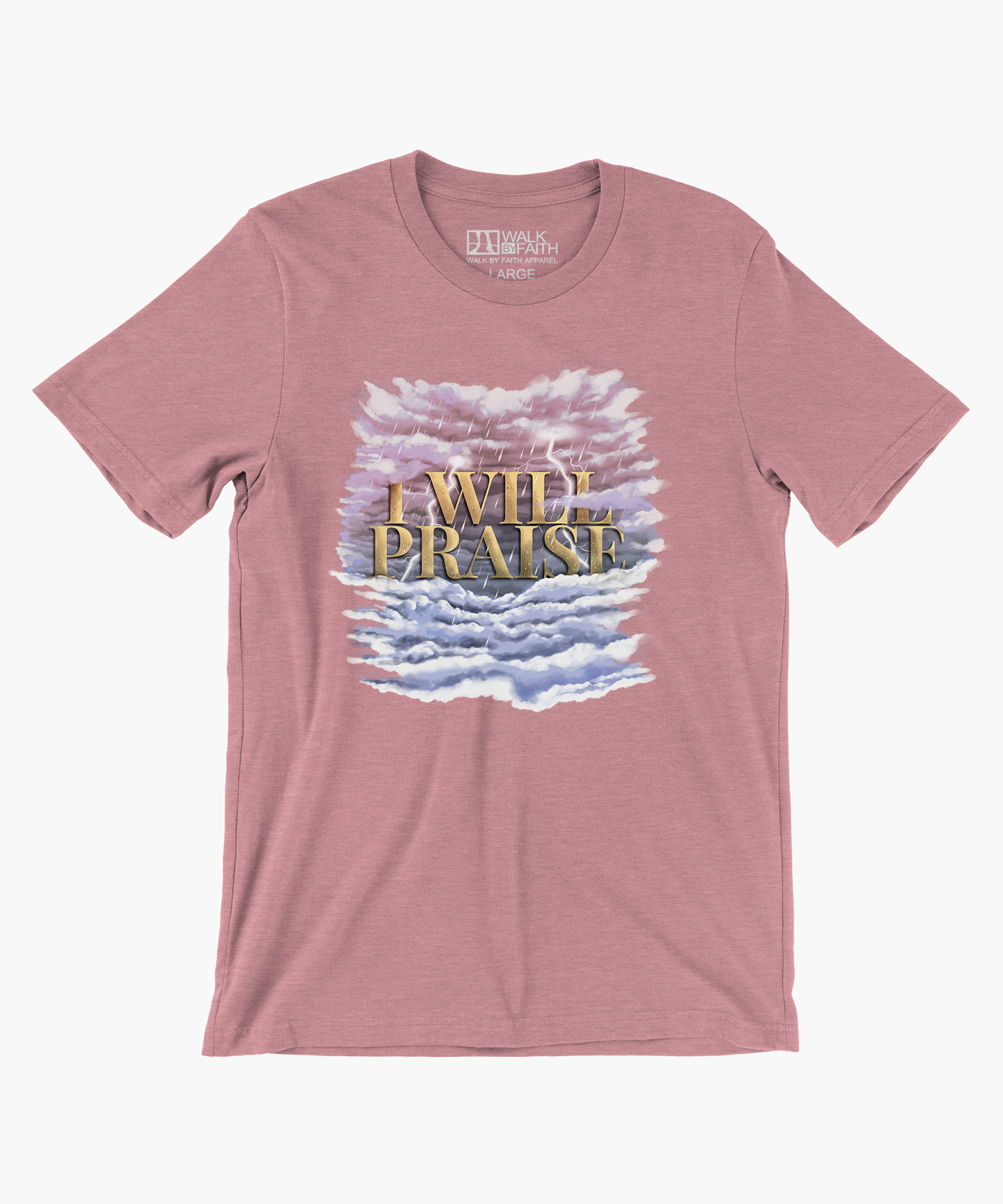 """I WILL PRAISE"" — Women's Relaxed Crew Tee (Heather Orchid)"