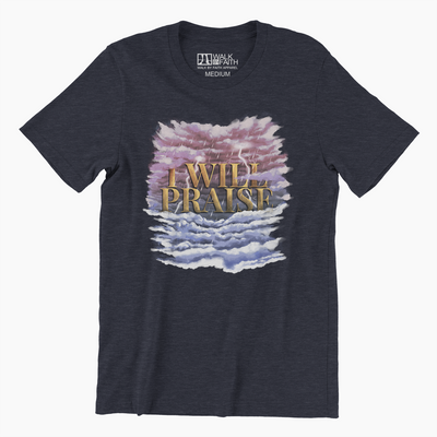 I WILL PRAISE - Heather Midnight Navy Unisex Classic Cotton Tee - Walk by Faith Apparel