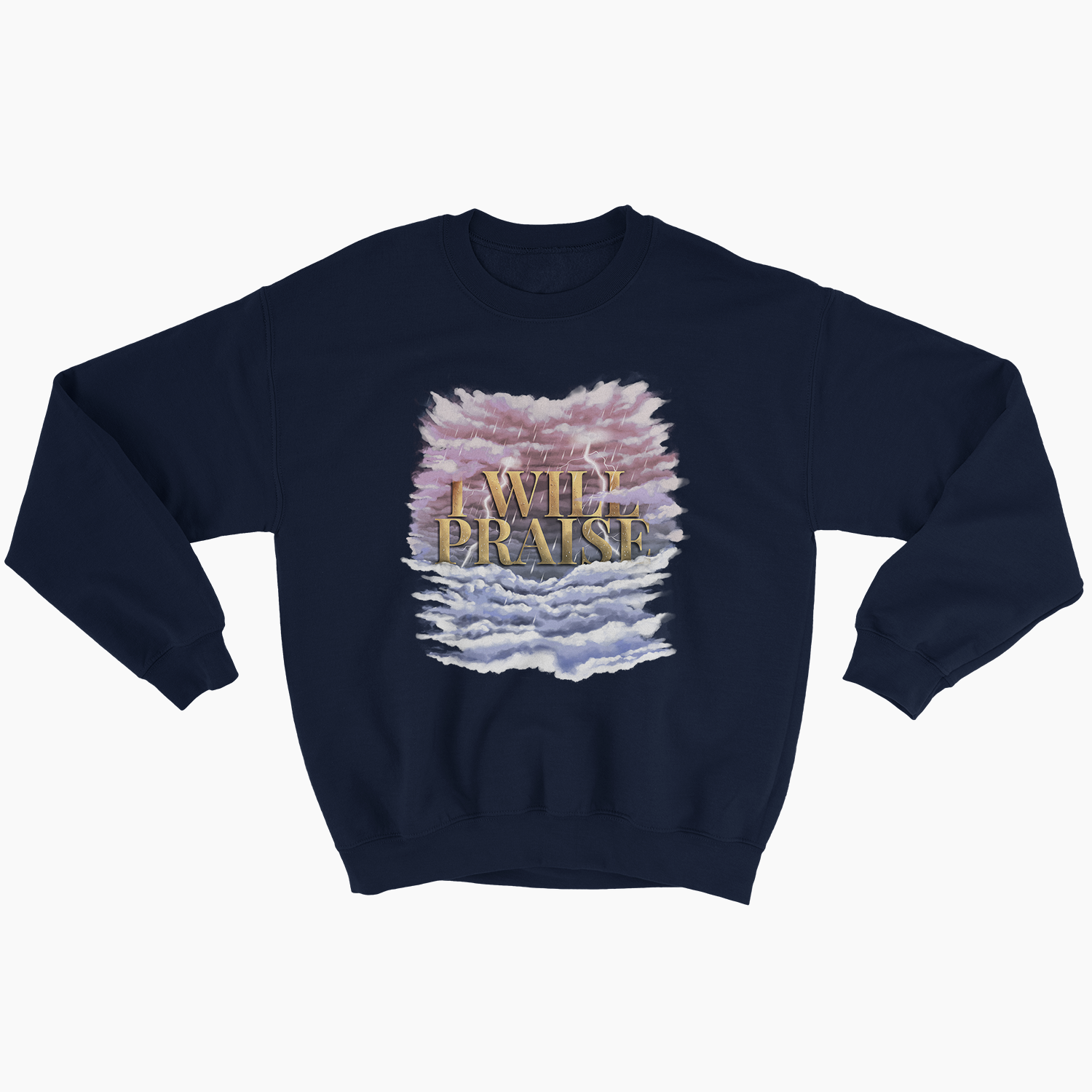 """I WILL PRAISE"" - Unisex CrewNeck Sweatshirt (Navy) - Walk by Faith Apparel"