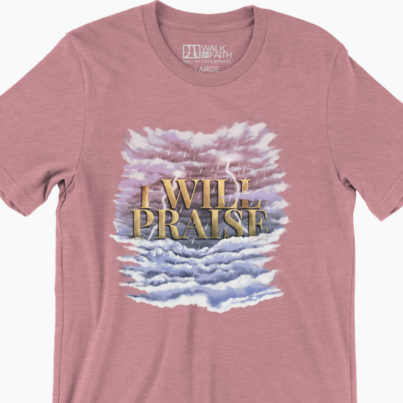 """I WILL PRAISE"" - Women's Cotton Crew Tee (Heather Orchid)"